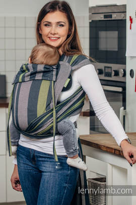WRAP-TAI carrier Mini, broken-twill weave - 100% cotton - with hood, SMOKY - LIME