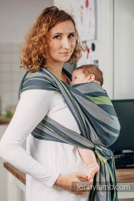 Baby Sling, Broken Twill Weave, 100% cotton,  SMOKY - LIME - size S (grade B)