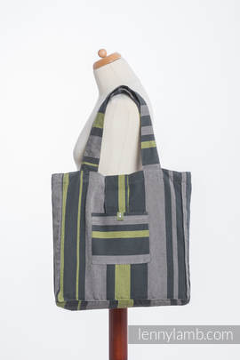 Shoulder bag made of wrap fabric (100% cotton) - SMOKY - LIME - standard size 37cmx37cm