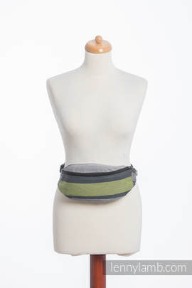 Waist Bag made of woven fabric, (100% cotton) - SMOKY - LIME