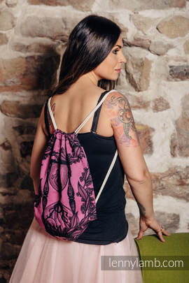 Sackpack made of wrap fabric (100% cotton) - TIME BLACK & PINK (with skull) - standard size 32cmx43cm (grade B)