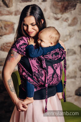 WRAP-TAI carrier Toddler with hood/ jacquard twill / 100% cotton / TIME BLACK & PINK (with skull)