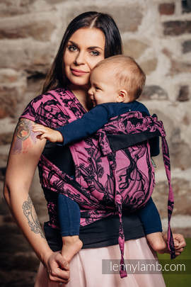WRAP-TAI carrier Mini with hood/ jacquard twill / 100% cotton / TIME BLACK & PINK (with skull)