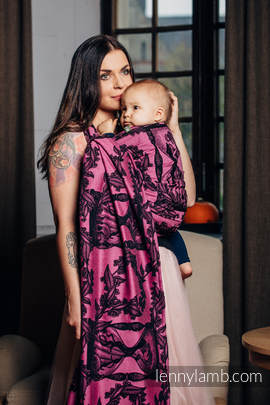 Baby Wrap, Jacquard Weave (100% cotton) - TIME BLACK & PINK (with skull) - size M (grade B)
