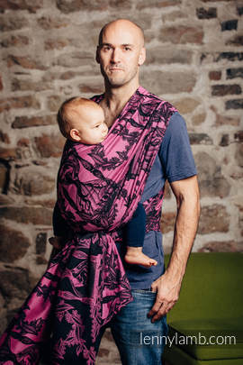 Baby Wrap, Jacquard Weave (100% cotton) - TIME BLACK & PINK (with skull) - size S