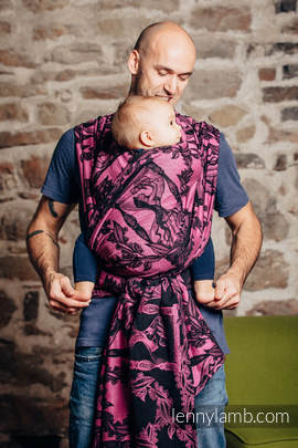 Baby Wrap, Jacquard Weave (100% cotton) - TIME BLACK & PINK (with skull) - size L (grade B)