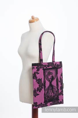 Shopping bag made of wrap fabric (100% cotton) - TIME BLACK & PINK (with skull) (grade B)