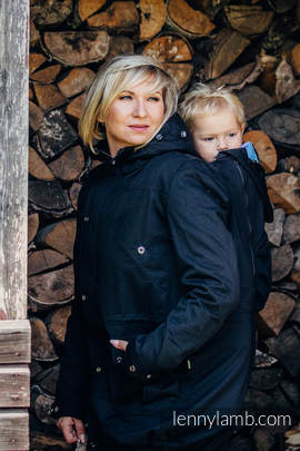 Parka Babywearing Coat - size 6XL - Black & Diamond Plaid
