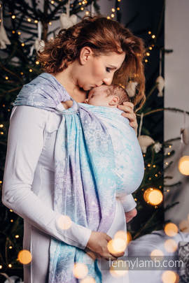 Ringsling, Jacquard Weave (96% cotton, 4% metallised yarn) - with gathered shoulder - GLITTERING SNOW QUEEN (grade B)