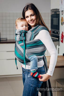 WRAP-TAI carrier Toddler, broken-twill weave - 100% cotton - with hood, SMOKY - MINT