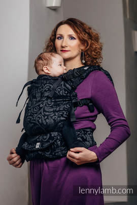 LennyUp Carrier, Standard Size, jacquard weave 96% cotton, 4% metallised yarn - wrap conversion from TWISTED LEAVES METAL & DUST