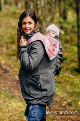Babywearing Coat - Softshell - Charcoal with Little Herringbone Elegance - size S