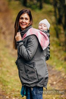 Babywearing Coat - Softshell - Charcoal with Little Herringbone Elegance - size L