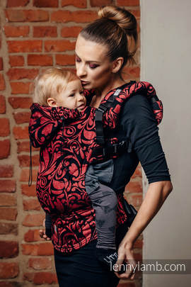 Ergonomic Carrier, Toddler Size, jacquard weave 60% cotton 28% linen 12% tussah silk - wrap conversion from TWISTED LEAVES - PINCH OF CHILLI, Second Generation