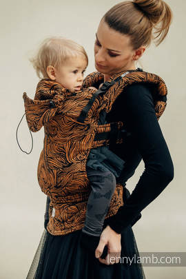 Ergonomic Carrier, Toddler Size, jacquard weave, 50% cotton, 50% linen) - wrap conversion from GOLDEN RAPUNZEL - Second Generation