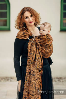 Ringsling, Jacquard Weave (50% cotton, 50% linen) - with gathered shoulder - GOLDEN RAPUNZEL