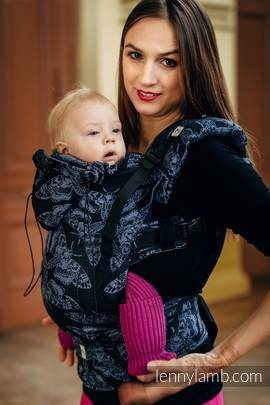 Ergonomic Carrier, Toddler Size, jacquard weave 96% cotton, 4% metallised yarn - wrap conversion from QUEEN OF THE NIGHT - Second Generation