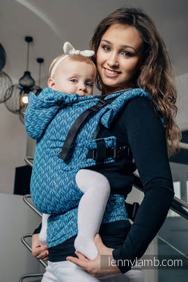 Ergonomic Carrier, Toddler Size, jacquard weave 100% cotton - wrap conversion from COULTER NAVY BLUE & TURQUOISE - Second Generation