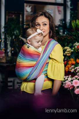 Baby Wrap, Herringbone Weave (82% cotton, 18% bamboo viscose) - LITTLE HERRINGBONE RAINBOW LIGHT - size XS