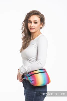 Waist Bag made of woven fabric, size large (82% cotton, 18% bamboo viscose) - LITTLE HERRINGBONE RAINBOW LIGHT (grade B)