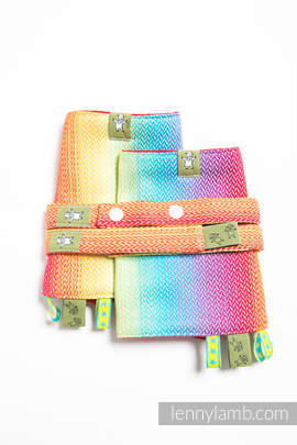 Drool Pads & Reach Straps Set, (82% cotton, 18% bamboo viscose) - LITTLE HERRINGBONE RAINBOW LIGHT