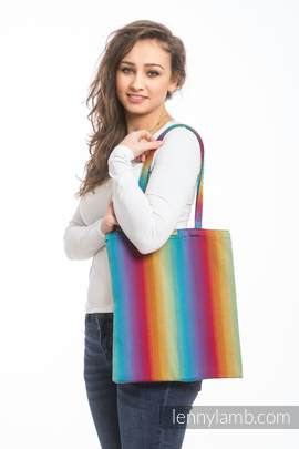 Shopping bag made of wrap fabric (100% cotton) - LITTLE HERRINGBONE RAINBOW NAVY BLUE