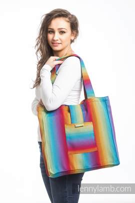 Shoulder bag made of wrap fabric (100% cotton) - LITTLE HERRINGBONE RAINBOW NAVY BLUE - standard size 37cmx37cm