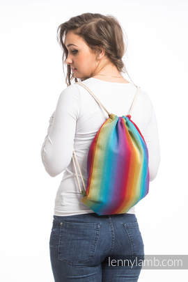 Sackpack made of wrap fabric (100% cotton) - LITTLE HERRINGBONE RAINBOW NAVY BLUE - standard size 32cmx43cm