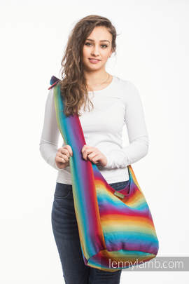 Hobo Bag made of woven fabric (100% cotton) - LITTLE HERRINGBONE RAINBOW NAVY BLUE