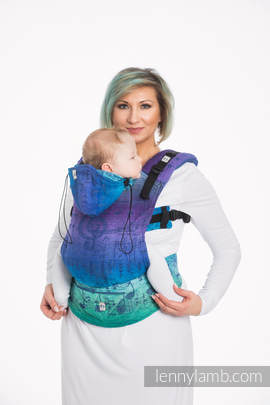 Ergonomic Carrier, Baby Size, jacquard weave 60% cotton, 36% merino wool, 4% metallised yarn - wrap conversion from SYMPHONY EUPHORIA, Second Generation