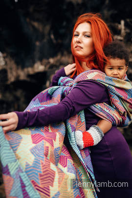 Baby Wrap, Jacquard Weave (27% combed cotton, 73% Merino wool) - PRISM - size M