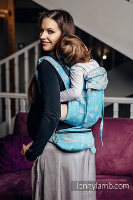 Waist Bag made of woven fabric, (66% cotton, 34% bamboo) - DRAGONFLY GREY & TURQUOISE