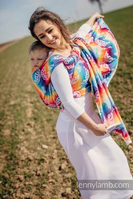 Baby Wrap, Jacquard Weave (100% cotton) - BUTTERFLY RAINBOW LIGHT - size M