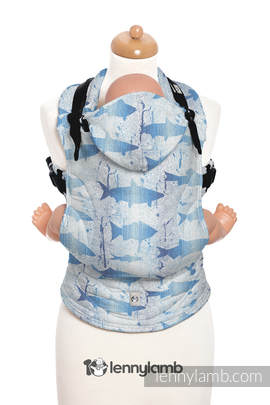 Ergonomic Carrier, Toddler Size, jacquard weave 100% cotton - wrap conversion from FISH'KA BIG BLUE REVERSE - Second Generation