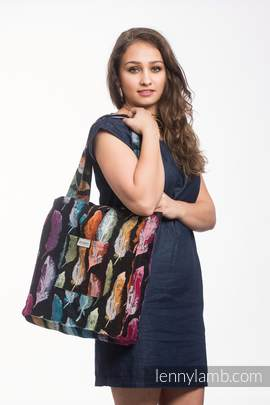 Shoulder bag made of wrap fabric (100% cotton) - PAINTED FEATHERS RAINBOW DARK - standard size 37cmx37cm