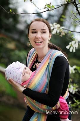 Baby Sling, Broken Twill Weave (bamboo + cotton) - Sunrise Rainbow - size XL (grade B)