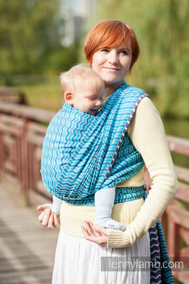 Baby Wrap, Jacquard Weave (100% cotton) - ZIGZAG TURQUOISE & PURPLE - size XL
