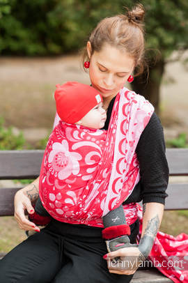 Baby Wrap, Jacquard Weave (100% cotton) - POWER OF LOVE - size S